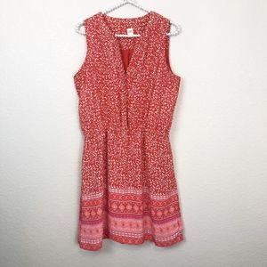 Gap Dress A Line Sleeveless Floral Red sz M